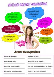 English Worksheets: WHAT DO YOU KNOW ABOUT HANNAH MONTANA?