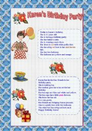 English Worksheet: Karen�s Birthday Party -Reading for Absolute Beginners