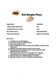 English Worksheet Kid Simple Pizza