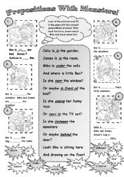 English Worksheet: PREPOSITIONS WITH MONSTERS!