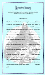 English Worksheet: The Expedition - Narrative Tenses