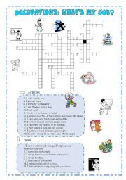 English Worksheet: Jobs and occupations crossword