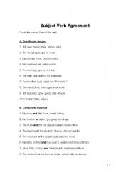 English Worksheet: Basic Subject-Verb Agreement