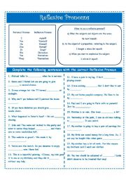 English Worksheet: REFLEXIVE PRONOUNS!