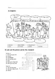English Worksheet: family crossword and classification