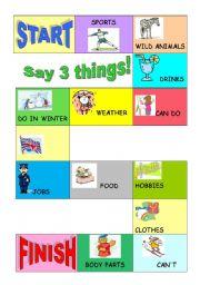 English Worksheet: Say 3 things!