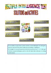 English Worksheets: Solutions and Activities promoting the MULTIPLE INTELLIGENCES