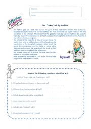 English Worksheets: Mr Parker�s daily routine