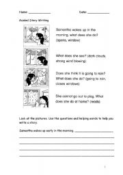 English Worksheet: Guided Story Writing