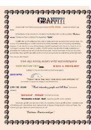 English Worksheet: graffiti reading