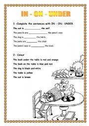 English Worksheet: PREPOSITONS - WRITE IN - ON - UNDER