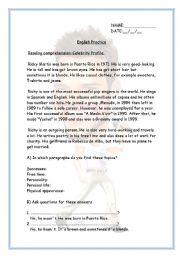 English Worksheets: Ricky Martin�s English Practice