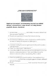 English worksheet: DREAMS EXPRESSIONS