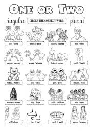 English Worksheet: One or Two - plurals
