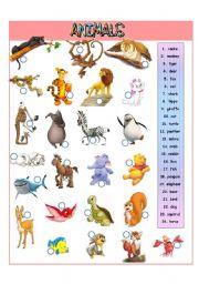 English Worksheets: Animals - I part