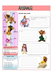 English Worksheet: Animals� descriptions - II part