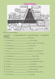 English Worksheet: PLACES IN TOWN (MAP) TELLING THE DIRECTIONS