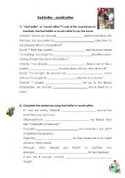 English Worksheet: would rather had better