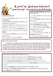 English Worksheets: LET�S PRACTICE - - - ERROR CORRECTION