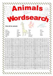 English Worksheets: Animal wordsearch