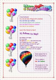 English Worksheet: I Love Balloons - Easy Reading and Rhymes