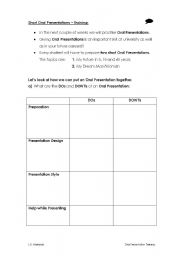 English Worksheets: Oral Presentation Preparation 1