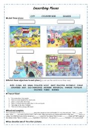 English Worksheet: Describing Places Guided writing. Adjectives