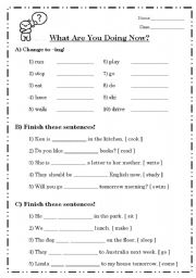 English Worksheets: What Are You Doing Now?