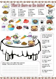 English Worksheets: What is there on the table? (1)