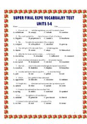 M.C.Q SUPER FINAL VOCABULARY TEST UNITS 5-6