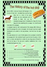 English Worksheets: The history of the hot dog