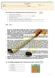 English Worksheet: Test - Young people and addictions (4 pages)