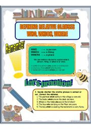 English Worksheet: Defining relative clauses WHO, WHICH, WHERE  (3sheets) + KEY