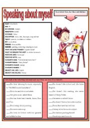 English Worksheet: SPEAKING ABOUT MYSELF