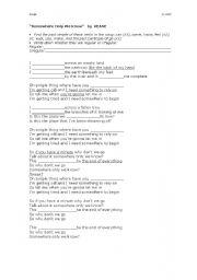 English worksheet: somewhere only we know (KEANE)