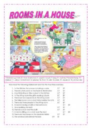 English Worksheets: rooms in a house