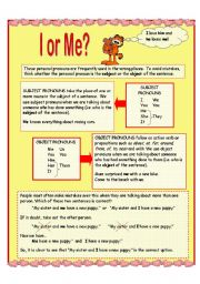 English Worksheet: Object and Subject Pronouns