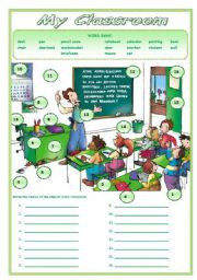 English Worksheet: MY CLASSROOM