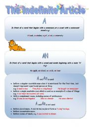 English Worksheet: The Indefinite Article
