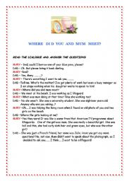 English Worksheets: When did you and mum meet?