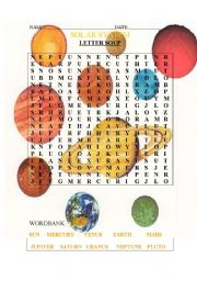 English Worksheet: SOLAR SYSTEM SOUP LETTER