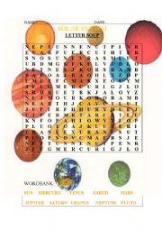 English Worksheets: SOLAR SYSTEM SOUP LETTER