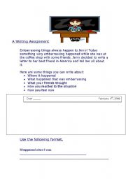 English Worksheets: A Writing Assignment