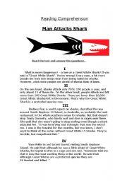 English Worksheets: Man Attacks Shark