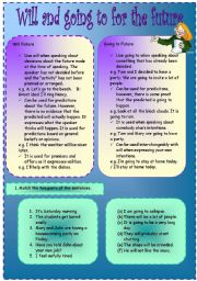 English Worksheet: Will and going to for the future