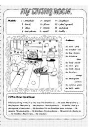 English Worksheet: My living room