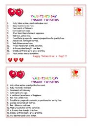 English Worksheet: VALENTINE´S DAY TONGUE TWISTERS :):):)