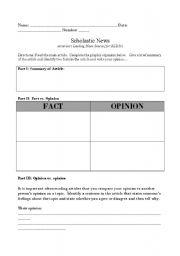 English Worksheets: Fact vs. Opinion Worksheet