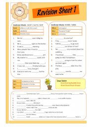 English Worksheets: Revision Sheet 1