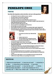 English Worksheet: PENELOPE CRUZ TRIVIA and ELEGY exercises (2  PAGES  with answer key)